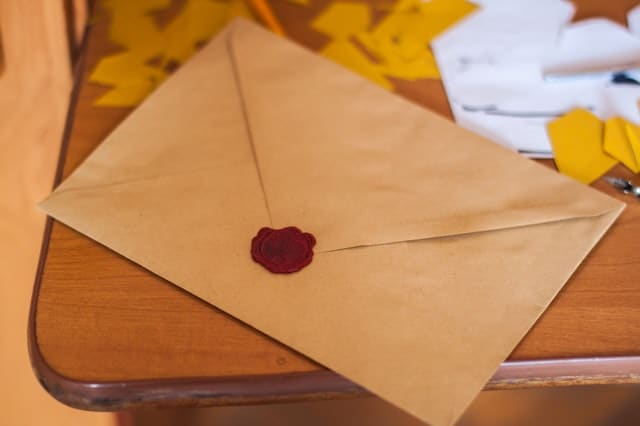 Envelope sealed with a wax seal