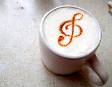 Latte with a treble clef design